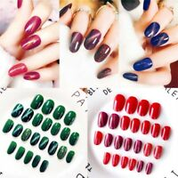 24pcs Short Nail Salon Full Cover False French Manicure Tips Fake Nails DIY
