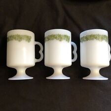 Set of 3 Vtg Corelle Corning Crazy Daisy Spring Blossom Pedestal Coffee Tea Mugs