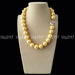 """Rare Yellow Gold 8/10mm South Sea Shell Pearl Heart Clasp Round Necklace 18"""" AAA"""