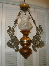 Chandelier Antique Brass/wood Mushroom Lamp style