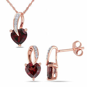 Amour 10k Rose Gold Garnet with Diamond Loop Drop Necklace and Earrings Set