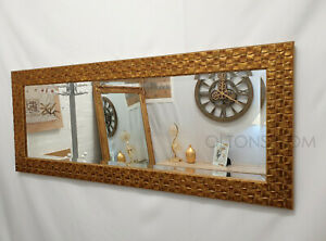 John Lewis Full Length Wall Mirror Bevelled Antique Gold Mosaic Wood 132x53cm