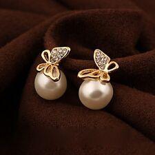 Sweet Lovely Women Grils Pearl Gold Plated Butterfly Ear Stud Earrings Jewelry