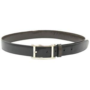 Cartier Leather Belt Black Silver Men 29.92-33.85 inch France