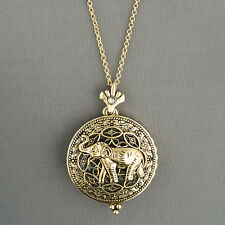 Antique Gold Chain Magnifying Glass Elephant Design Pendant Necklace