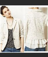 Anthropologie Cartonnier Womens Ruffle Hem Space Dye Cotton Knit Blazer Medium M