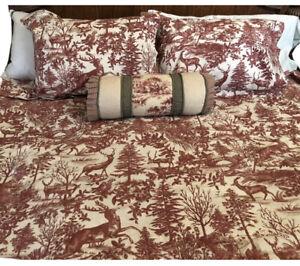 Pottery Barn Deer Stag Red Toile Duvet Cover Full/Queen 2 standard shams Rare