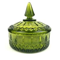 Vintage Indiana Glass Green Princess Candy Box Candy Dish with Lid