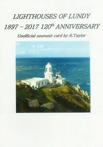Lundy Island. Lighthouses of Lundy, Unofficial Souvenir Card & Lundy Stamps