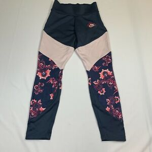 Nike Womens Black Ivory Sportswear Elastic Waist Floral Printed Leggings Size M