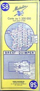 Ancienne carte Routière Michelin collector - 200 000 éme BREST-QUIMPER 58