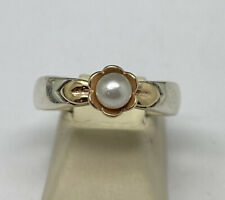 James Avery Sterling Silver/14K Yellow Gold Pearl Ring Size 9.5 Retired