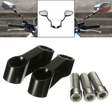 2X CNC 10mm Black Motorcycle Bike Mirror Mount Riser Extender Adaptor Adapter