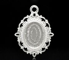 PACK OF 2 BRIGHT SILVER PLATED CABOCHON SETTING PENDANTS - 36mm........F813 *