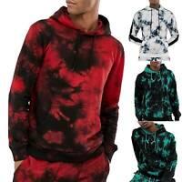 Men Tie Dye Hooded Hoodie Pullover Sweatshirt Slim Pocket Gym Sports Tops M-3XL