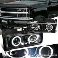 88-98 C10 C/K Silverado Sierra Suburban Tahoe Halo LED Projector Headlight Black