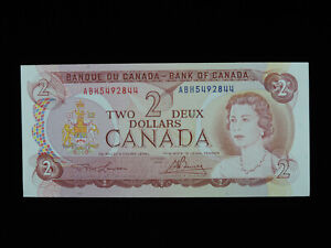 1974 $2 Bank of Canada Banknote ABH 5492844 Lawson Bouey AU Grade Bill