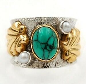 Two Tone Spider Web Turquoise 925 Sterling Silver Ring Jewelry Sz 6.5, CT33-3