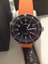 New Fortis Men's Watch Automatic B42 Orange Strap black Dial 647.10.158