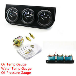 3 In 1 52mm Oil Temp Water Temp Oil Pressure Triple Gauge Kit Car Pointer Meter