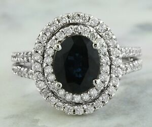 4.05 Carat Natural Sapphire 14K Solid White Gold Luxury Diamond Ring