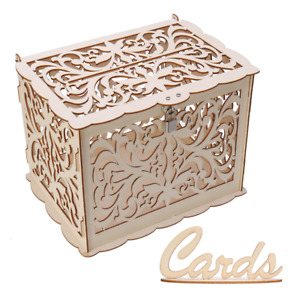 Wood Gift Case Money Card Box DIY Wedding Birthday Party Card Holder Container w