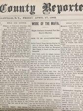 EARLY Mafia - Black Lynching - 1903 Wellsville, New York Newspaper