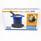 Rachel Ray Cast Iron 1.5 Quart Enamel Fondue Set Skewers/Liquid Fuel Hold NEW