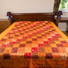 Stunning Indian Silk patchwork bedspread throw - 'Diamond Tukdi' orange