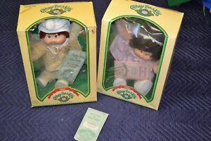 Lot 1984 Cabbage Patch Kids Brown Hair Hazel Eyes Box Dimple Corey Sheila
