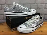 CONVERSE LADIES UK 5 EU 37.5 ALL STAR HOLIDAY PARTY OX SILVER SEQUIN TRAINERS T