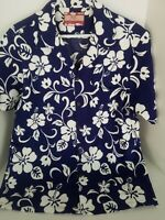 RJC Made in Hawaii Blue Floral Large Short Sleeve Button-Front Hawaiian Shirt