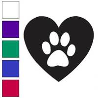 Dog Paw Print Heart Love Decal Sticker Choose Color + Size #2968