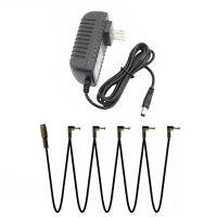 Guitar Pedal Power Supply Adapter 9V & 5 Way Splitter Cables for Boss JOYO Korg