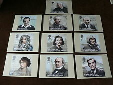 Eminent Britons 2009, PHQ Stamp Cards, FDI Special H/S Back, Set of 10