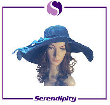 One Size Fasion Women's Summer Beach Blue Sewn Braid Paper Hats with Ribbon