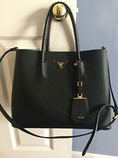 PRADA Saffiano Cuir Double Bag w/ Strap Black and Red-Preowned
