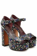 MARC JACOBS DOLLS SKY SNAKE EMBOSSED LEATHER PLATFORM HIGHHEEL SANDALS 38EU/8US