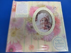 Flitterbyes Flower Floral Pink Baby Shower Keepsake Bound Photo Journal Album