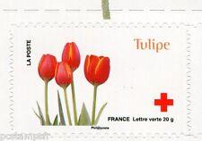FRANCE 2014, timbre CROIX ROUGE AUTOADHESIF FLEURS, TULIPE, neuf**, FLOWERS