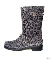 new $995 JIMMY CHOO 'Youth' leopard-print black gray suede BIKER BOOTS 36 US 6
