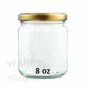 8oz Round Glass Jam Jars, 228ml, Pack 24, Gold Lids  ,Marmalade, Jams, New*