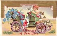 Valentines Day Cupid Driving Flower Car Love Message Antique Postcard K23456