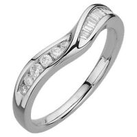 0.25ct Round & Baguette Cut Diamond Shaped Half Eternity Ring in 9K White Gold