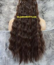 """20"""" WAVY BROWN FLIP IN SECRET CLEAR WIRE HAIR PIECE EXTENSIONS NO CLIP IN/ON"""