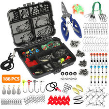 188 Fishing Accessories Kit With Fishing Swivels Hooks Sinker Weights Tackle Box