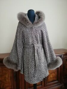 NEW BEAUTIFUL WOOLEN CAPE WITH ARCTIC FOX FUR TRIM TOP QUALITY