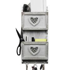 Wandablage 18x6,5xH43cm Briefablage Postablage Ablagesystem Wandregal Weiß/Grau