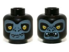 LEGO - Minifig, Head Dual Sided Gorilla with Yellow Eyes, Fangs and Gray Face