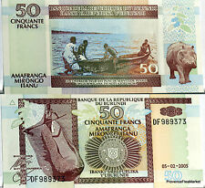 Burundi billet Neuf de 50 FRANCS pirogue hippopotame Pick36 2005